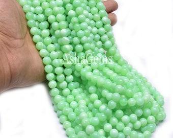 9 Pretty Round Australian Olive Green Opal Gemstone Beads 10 mm