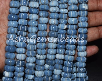 8 Strand Blue Oregon Opal Faceted Heart Shape Gemstone Beads,Blue Opal Briolette Beads,Opal Beads,14.5-18 mm,300 Ct,Jewelry Making Crafts