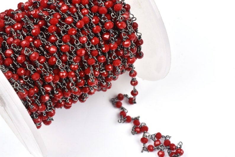 3,5,10,25 Feet Red Onyx Hydro Faceted Rondelle Beaded Rosary Chain Black Metal Plated Wire,Jewelry Making Finding,Wire Wrapped Chain 3-3.5mm