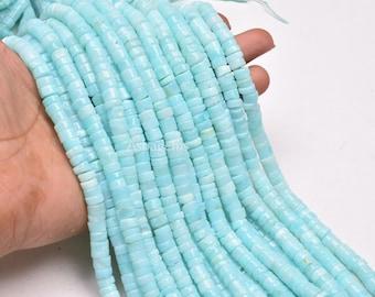 "SALE SALE 13"" Peruvian Opal Smooth Round Tyre Gemstone Heishi Beads, Blue Peru Opal Smooth Beads,6,6.5-7 mm Opal Jewelry Making Handicrafts"