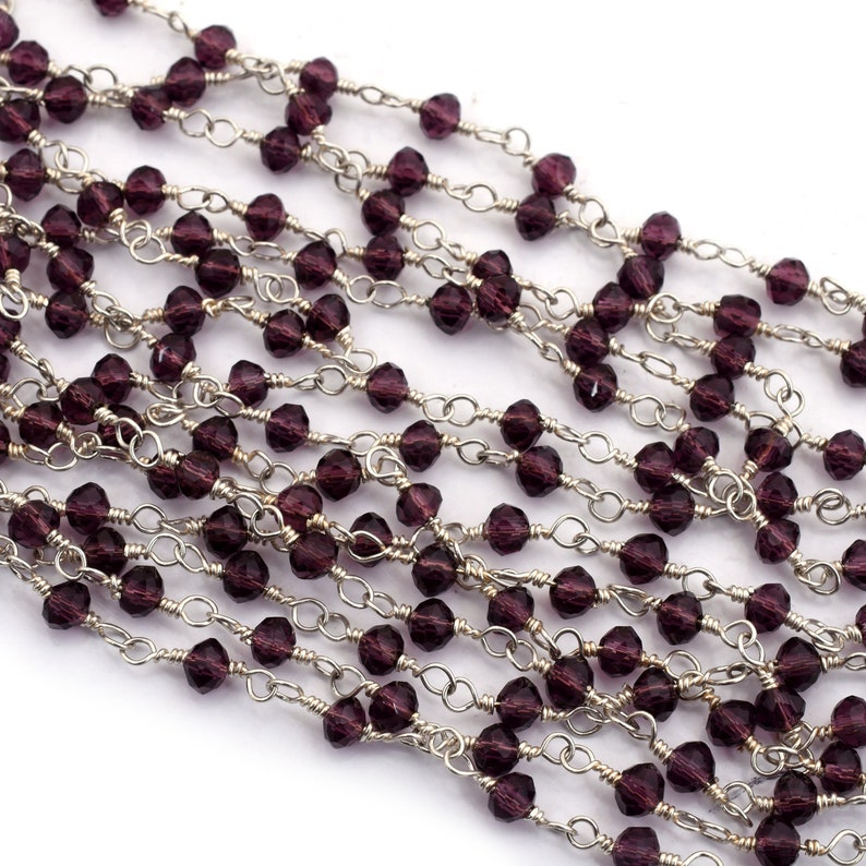 1,3,5,10 Feet Roll Bulk,Silver Plated,Faceted Rondelle,Garnet Rosary Chain,Hydro Beaded Jewelery Making,Finding,Wire Wrapped Chain