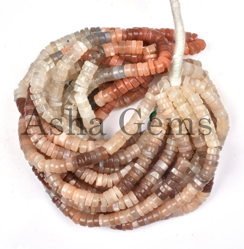 Smooth Beads Multi Moonstone 6.50-7 mm 16 Strand Heishi Tyre Moonstone,,SALE Fine Quality Moonstone Smooth Heishi Tyre Gemstone Beads
