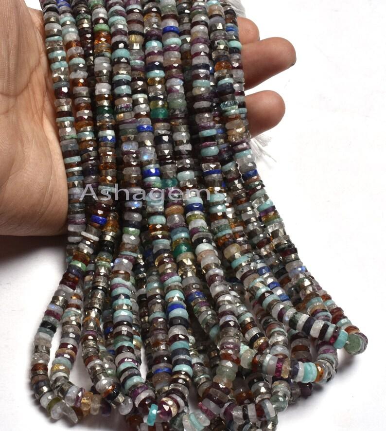 Wheel Bead Beautiful Mix Gemstone Faceted Heishi Tyre Beads Disco,5-5.5mm Jewelry Making Craft Natural Multi Disco Faceted Flat Tyre Beads