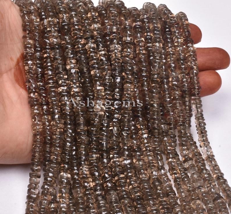 Smoky handmade Plain Wheel Shape Beads Gemstone Tyre Beads For Jewelry Crafts,5-5.5mm Natural Smoky Quartz smooth Tyre Beads,13 Inch Strand