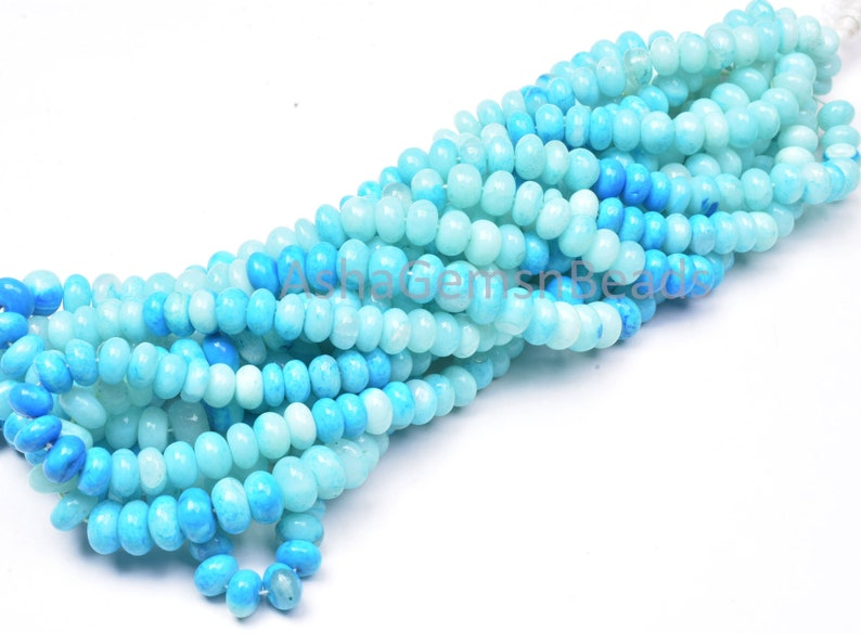 Peru Blue Opal Shaded Rondelle Shape Beads,8-9 mm Blue Opal Gemstone Beads handmade Smooth Loose Beads For Necklace Jewelry Handicraft Bead