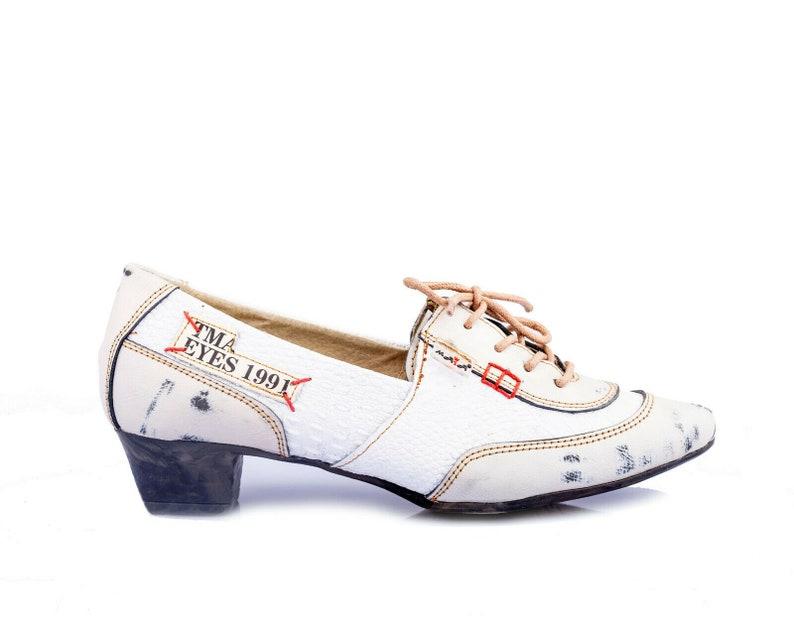 TMA 5363 Modischer Damen Halbschuh Schnürer Schuhe Leder blau alle Gr 36-42