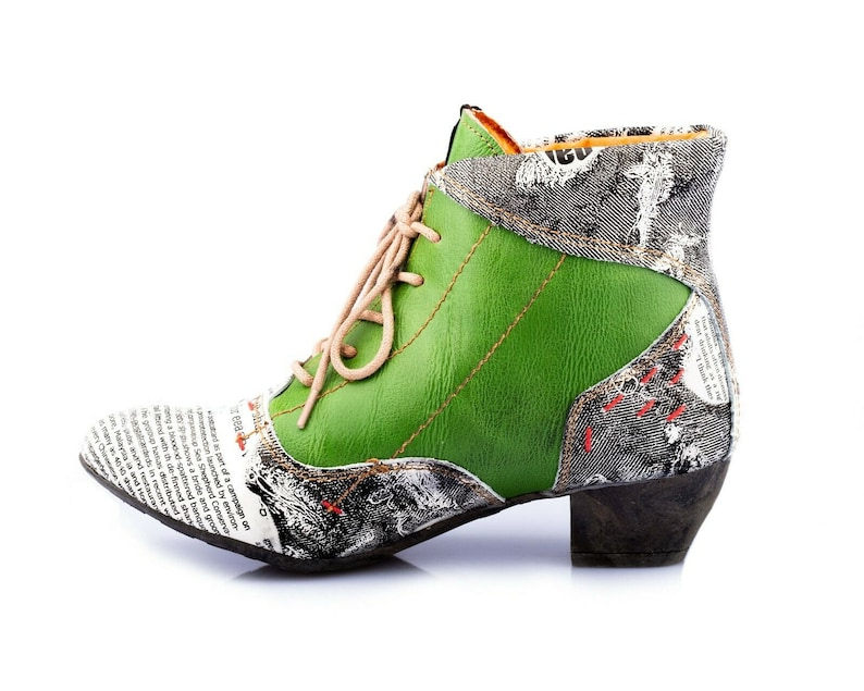 TMA 7616 Fashionable Women/'s ankle boots leather shoes green all sizes 36-42