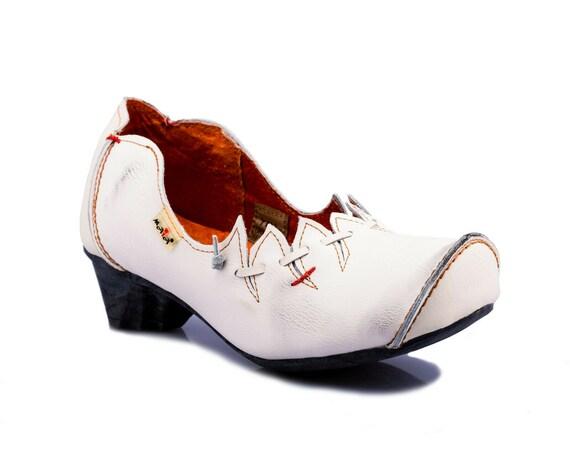 TMA 6716 Modische Damen Pumps Halbschuh Schuhe Echtleder weiß alle Größen 36-42