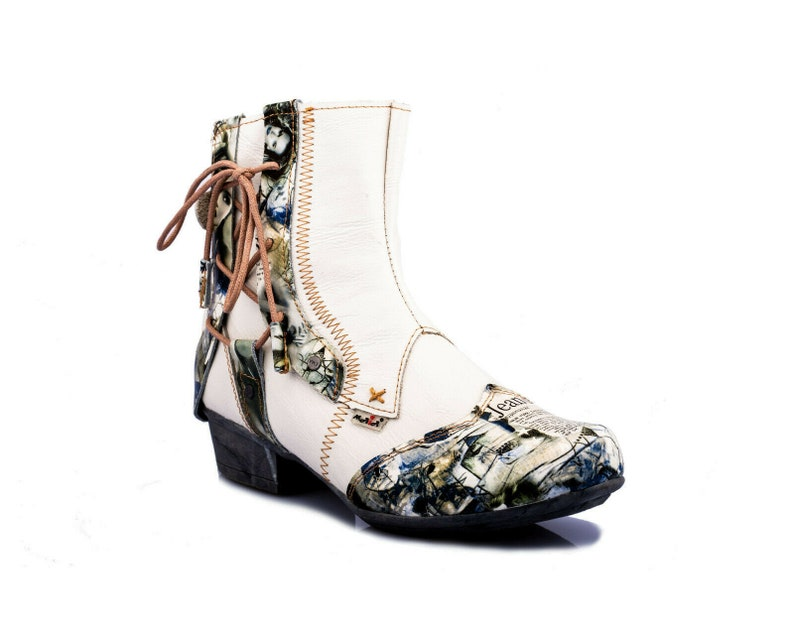 TMA 6186 Fashionable Women/'s ankle boots Boots shoes leather white all size 36-42
