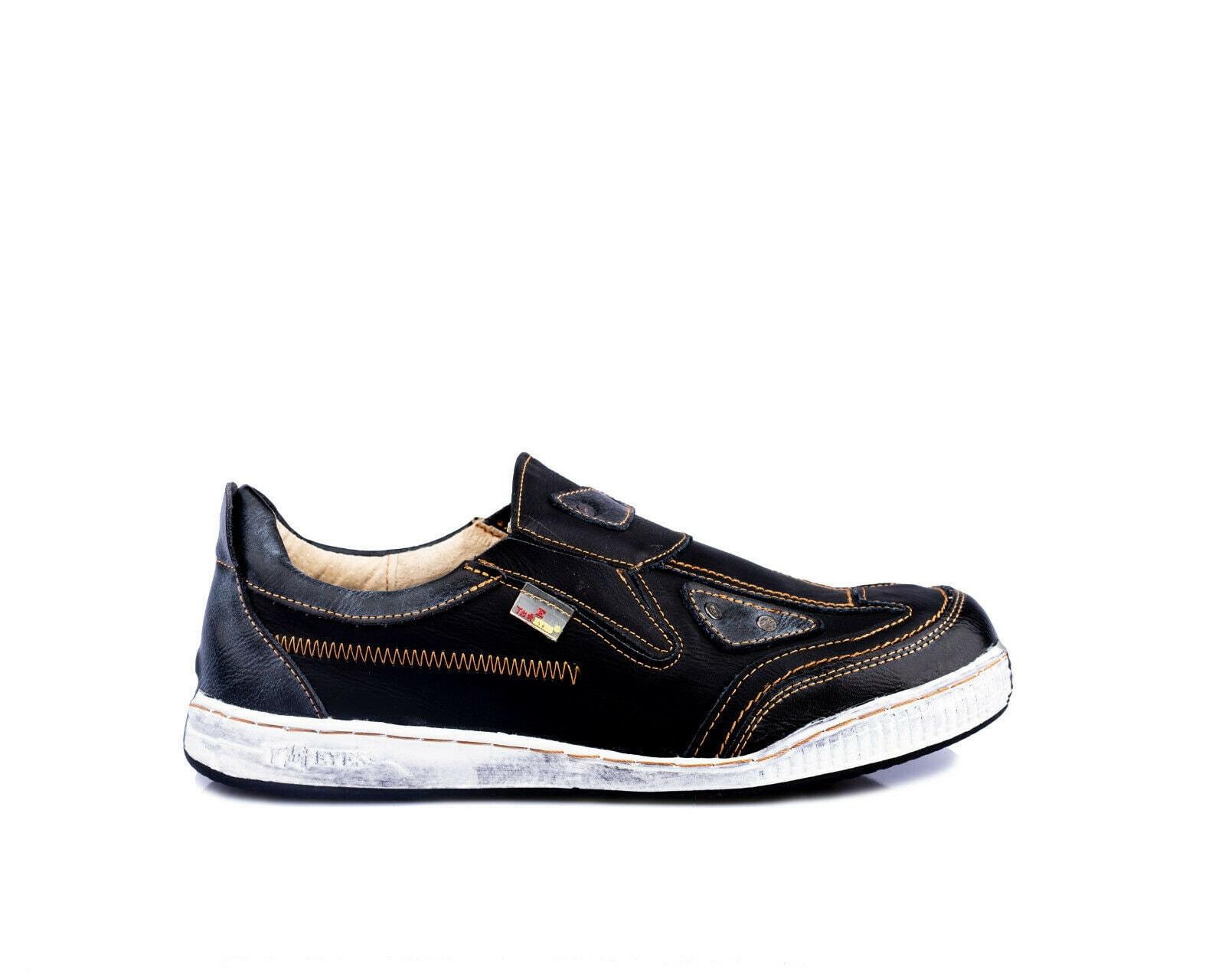 TMA 1905 Komfortable Damen Halbschuhe Sneaker Leder schwarz alle Größen 36-42