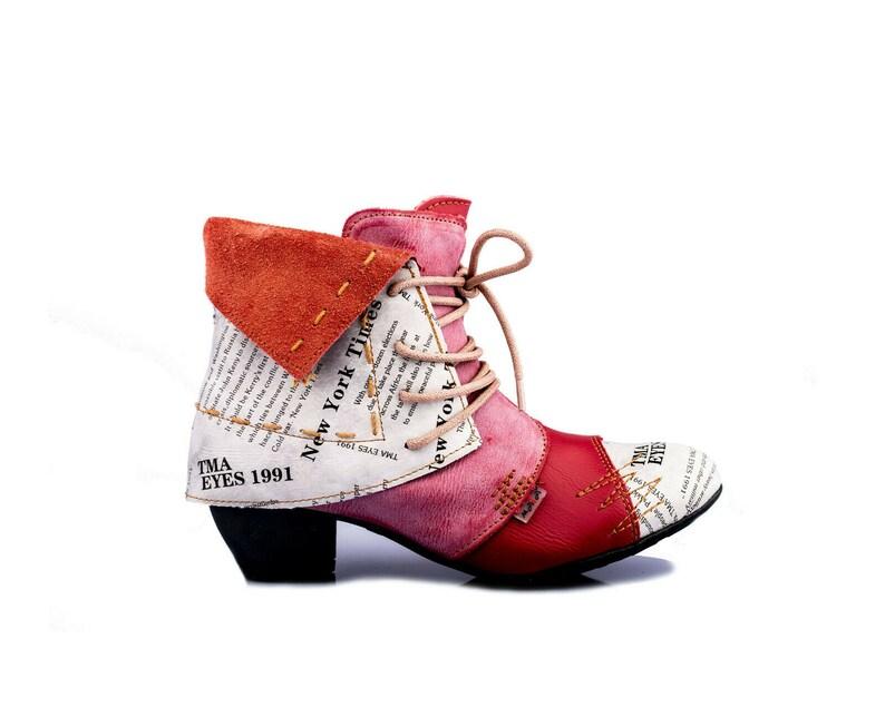 TMA 8909 Modische Damen Stiefeletten Stiefel Leder Schuhe weiß alle Gr 36-42