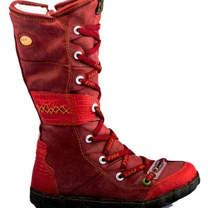 TMA 7086 Comfortable Women/'s Winter Boots Leather Red All Size 36-42