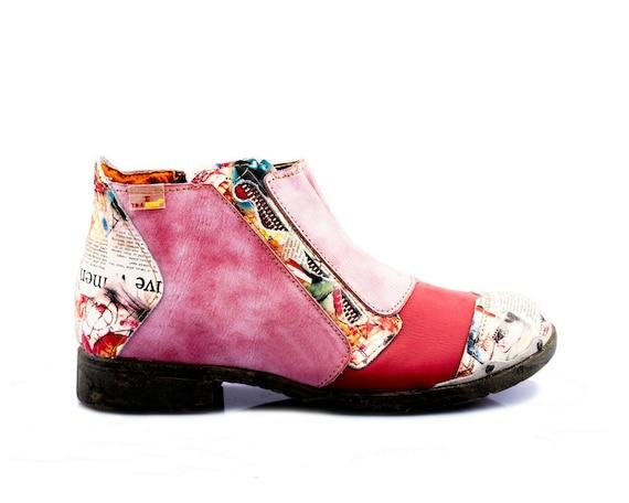 TMA 5335 Modische Damen Boots Stiefeletten Schuhe Leder rot alle Gr.36 42