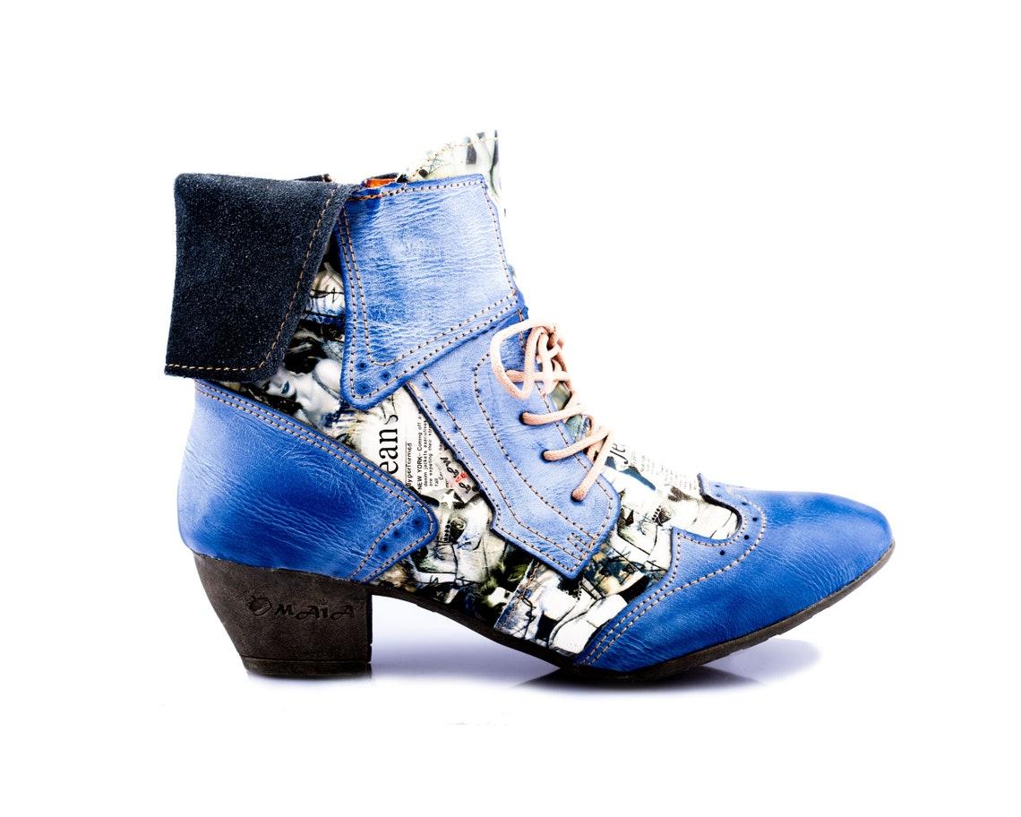 Damen Stiefeletten TMA 6188   Frühjahr   Sommer   Herbst   Echtleder   blau   Größen 36 - 42