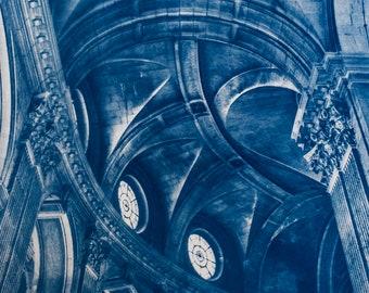 Cyanotype of Saint Sulpice, in Paris.