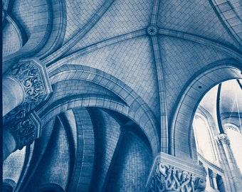 Cyanotype of Notre Dame de la Croix, Paris