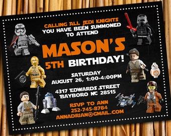Lego Star Wars Invitation Birthday Starwars Party Invitations Invite Luke Printables Card