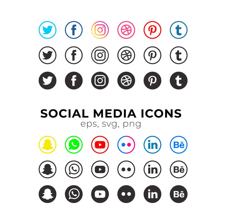 Social Media Icons INSTANT DOWNLOAD  Printable SVG File - Vectors - Cricut  file - svg, eps, png, facebook icon