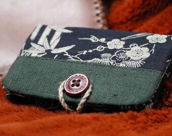 Bleu Marine Cuir Vintage /& Coton Robuste Porte Carte /& Porte Monnaie Portefeuille Homme Extra-Plat Handy/®- System Pull Out