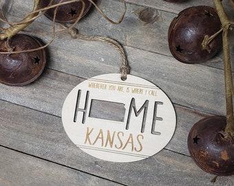 Kansas, State, Home, Wooden Christmas Ornament