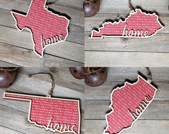 State, Home, Outline, Wood, Ornament