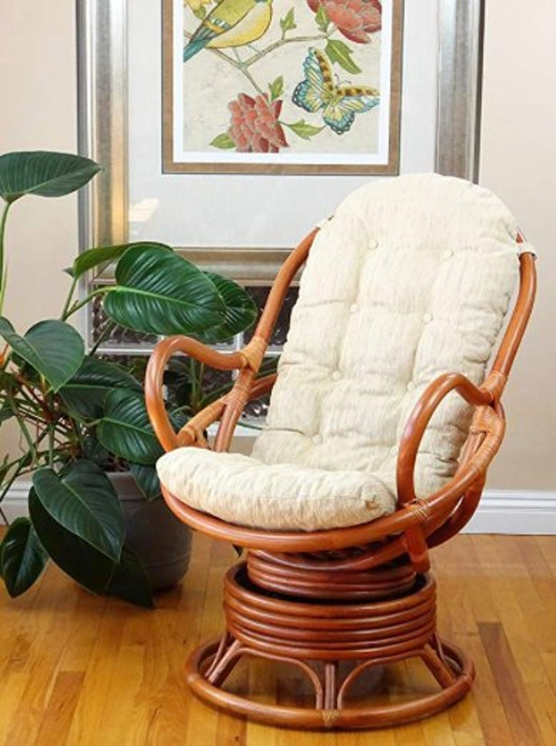 Tremendous Swivel Rocking Chair Colonial With Cushion Handmade Natural Wicker Rattan Furniture Ibusinesslaw Wood Chair Design Ideas Ibusinesslaworg