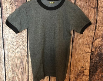 bb212823 NOSDeadstock 1970s 70s ringer t shirt plain cuffed t shirt mod soul boy  fitted stretch gym size S