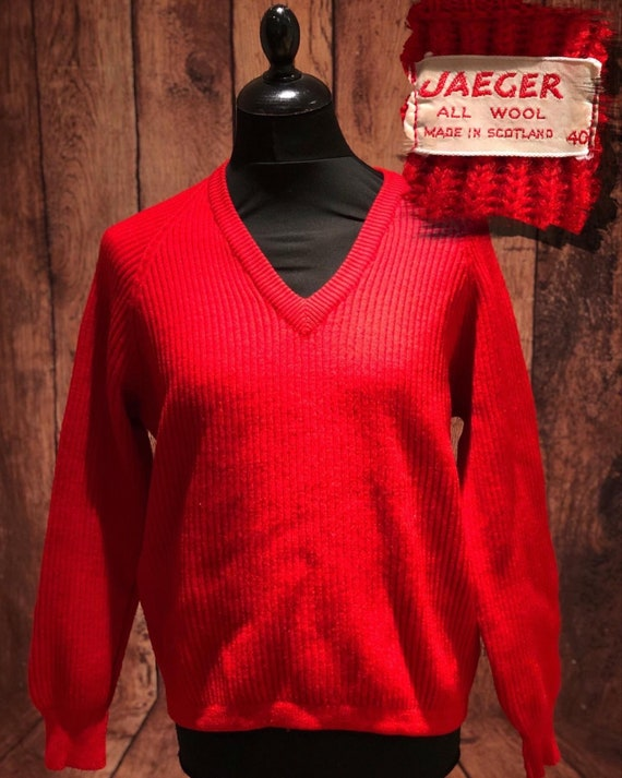 1960s 60s made in Scotland Jaeger Bright red pure