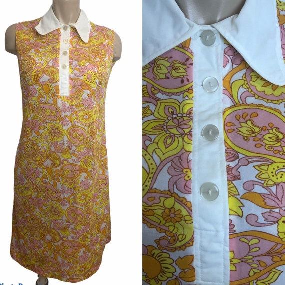 1970s 70s flower power sleeveless A line shift dre