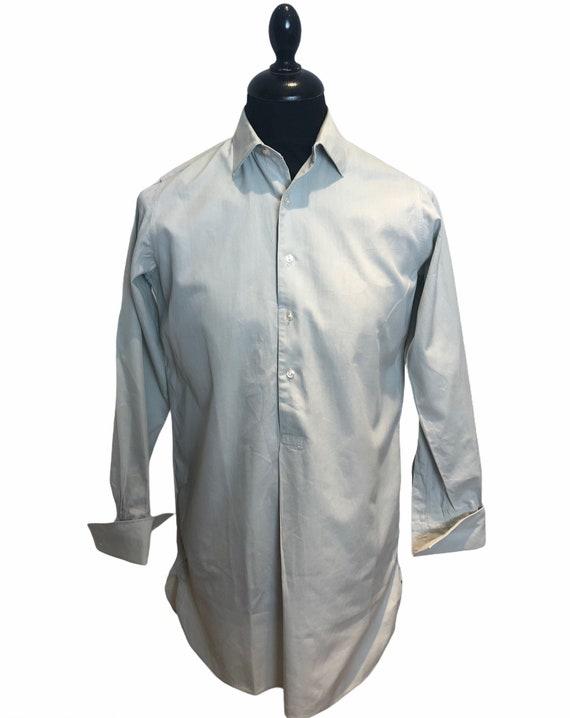 1940s 40s German half placket formal work shirt pu