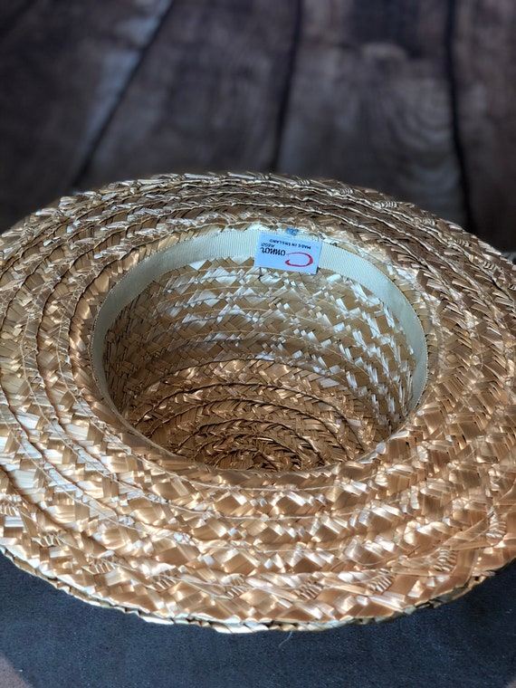 Vintage ladies 1940s straw boater 20s 30s style p… - image 7