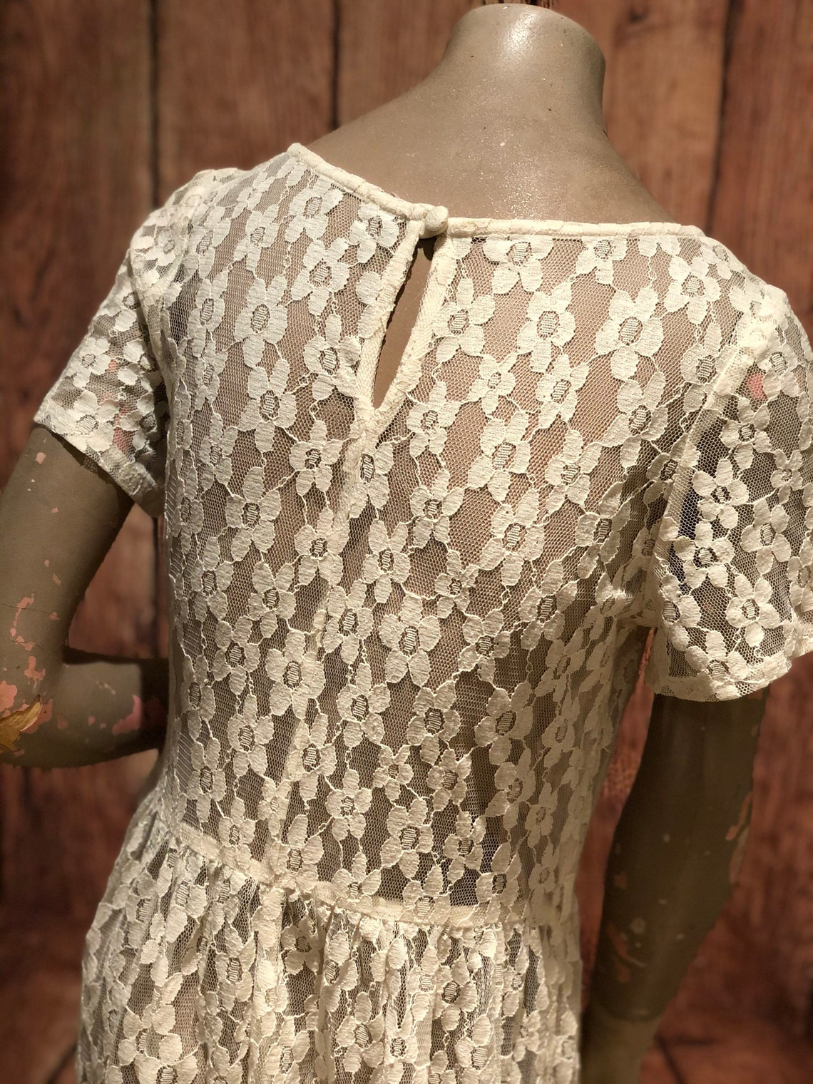1960s 60s boho see through lace flower cream white dress