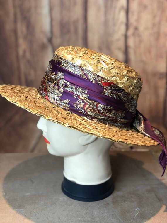 Vintage ladies 1940s straw boater 20s 30s style p… - image 5