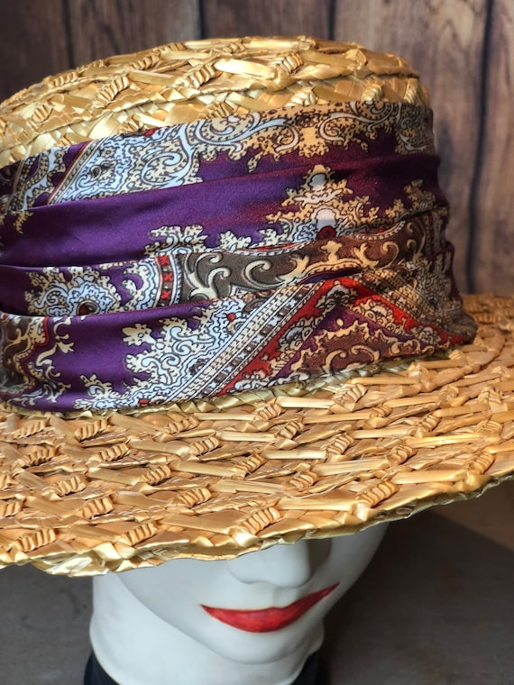 Vintage ladies 1940s straw boater 20s 30s style p… - image 8