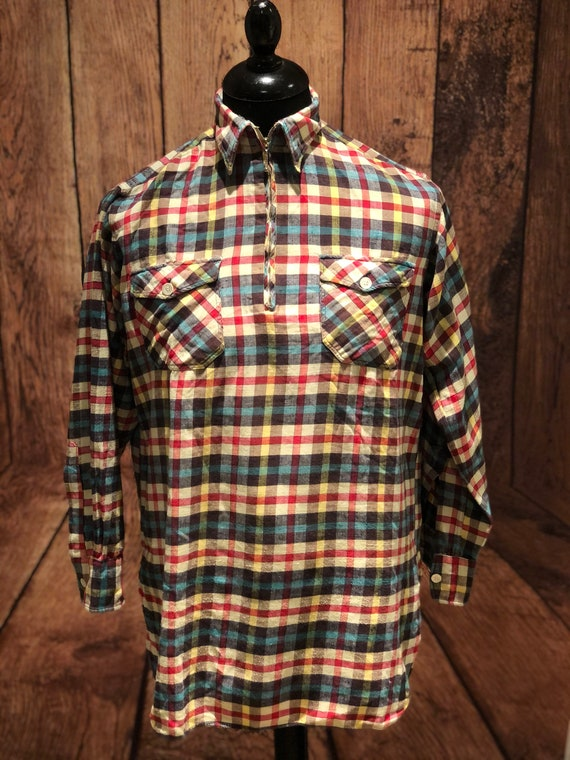 1950s 60s check flannel zip pocket chore workshirt