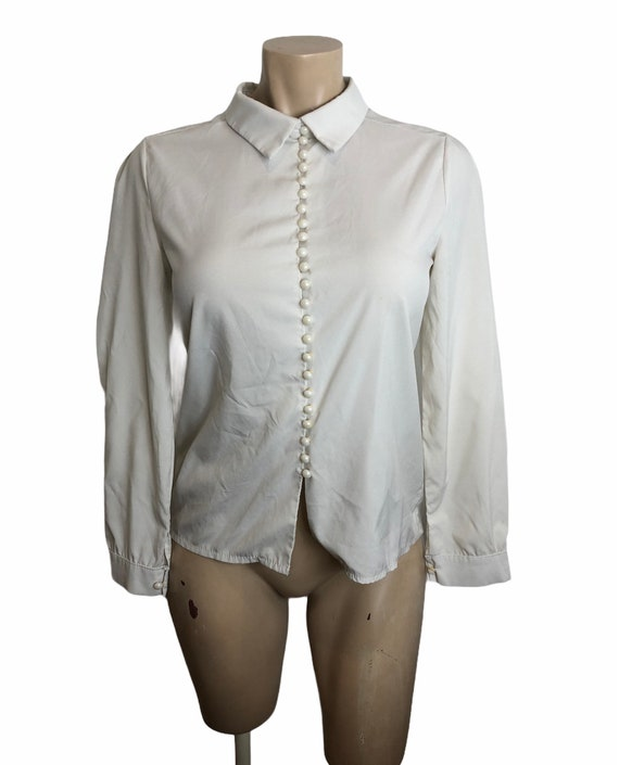 1970s 70s does 1940s 40s silk style rayon blouse b