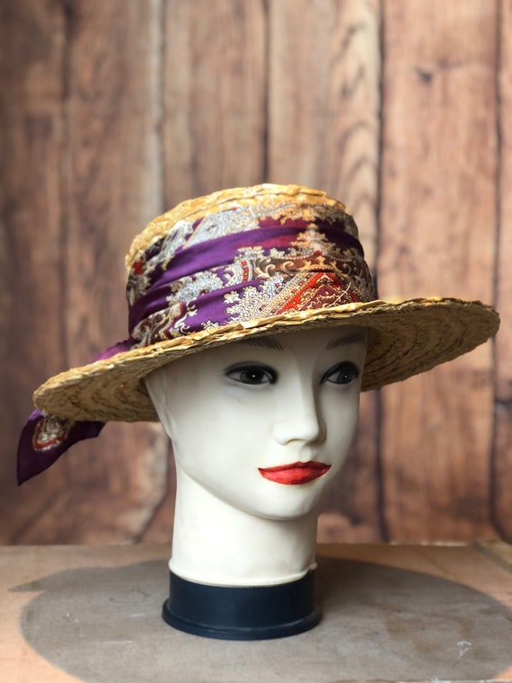 Vintage ladies 1940s straw boater 20s 30s style p… - image 1