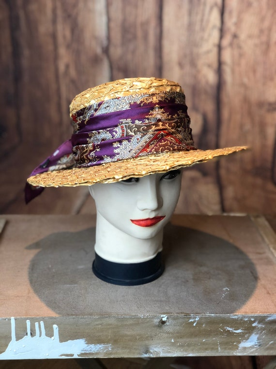Vintage ladies 1940s straw boater 20s 30s style p… - image 4