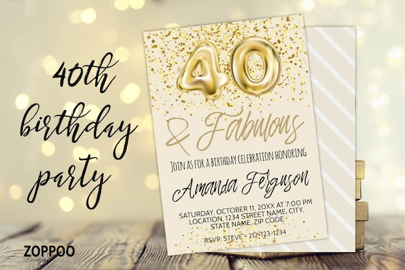 40th Birthday Invitation Birthday Invitation Card Instant Download Birthday Template Editable Forty And Fabulous