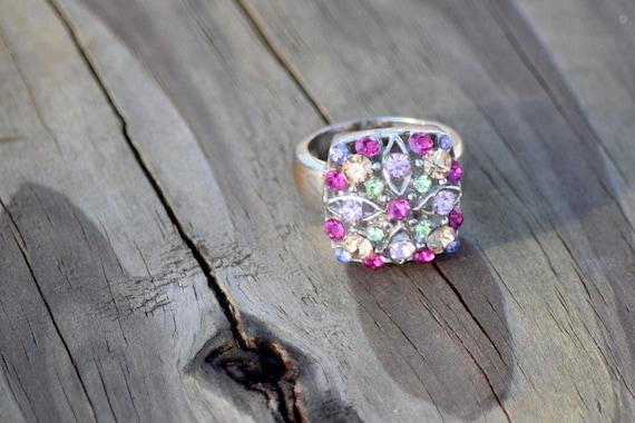 Stunning Vintage Silver Gemstone Ring // Size 7 S… - image 7