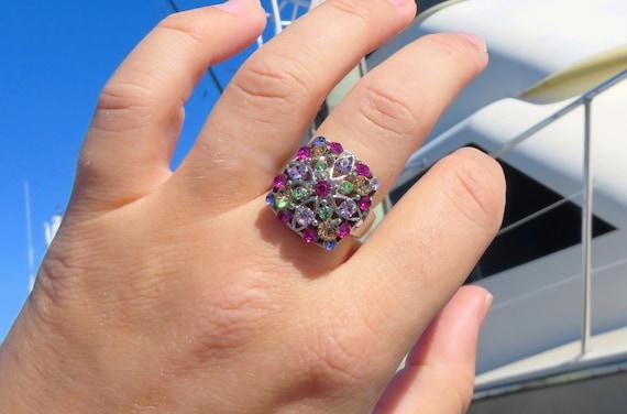 Stunning Vintage Silver Gemstone Ring // Size 7 S… - image 2