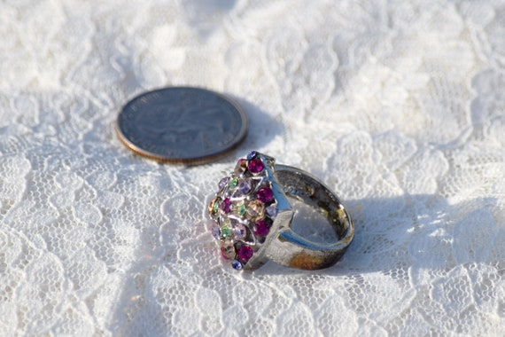 Stunning Vintage Silver Gemstone Ring // Size 7 S… - image 5