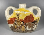 Vintage Double Handled Pottery Hand Painted Vase Jug 3D Native American Scene