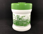 Vintage Milk Glass Tobacco Canister Green Cigar Humidor Jar with Steamboat Scene