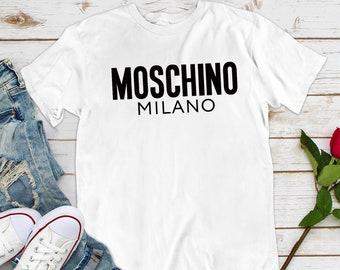 a59406a6 Moschino Tee Popular Shirt Trendy Tshirt, T-Shirt, Fashion T-Shirt Unisex  women & men, logo Inspired shirt Hiphop Swag Casual Vintage CO1214