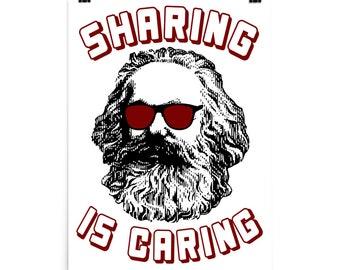 Sharing Is Caring - Karl Marx Silhouette, Socialist, Marxist, Democratic Socialism, Leftist Poster