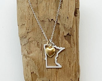 """3 Souls, Minnesota Necklace, Sterling Silver with 14kt Gold Plate Puffy Heart charm 16""""-18"""" Length, Minneapolis, MN Necklace"""