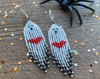 Halloween Ghost Earrings, Fringe Earrings, Seed Bead Ghost Earrings, Halloween Jewelry, Spooky Earrings, Dangle Earrings, Boo, 3 Souls