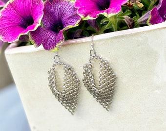 Handmade Beaded Earrings, Bohemian Earrings, Grey Drop Earrings, Boho Earrings, Seed Bead Jewelry, Super Duo Beads, Russian Leaf, Gray
