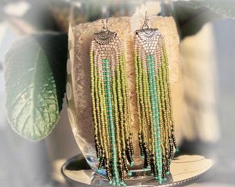 Handmade Earrings, Fring Seed Bead Long Earrings, Boho Earrings, Dangle Earrings, Beaded Earrings, Long Drop Earrings, Jewelry Gift, 3 Souls